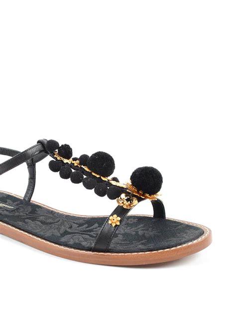 Sandal Pompom Flat dolce gabbana pompon flat sandals sandals cq0079