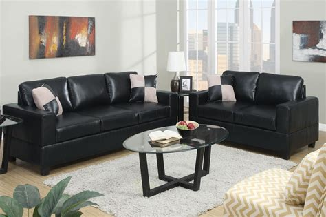 Black Sofa And Loveseat Set by Poundex Tesse F7598 Black Leather Sofa And Loveseat Set