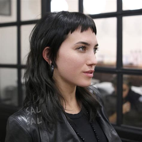 micro bangs with waves women s edgy modern textured mullet with choppy micro