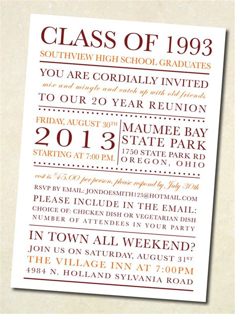 High School Reunion Invitation Wording Class Reunion Invitation Template