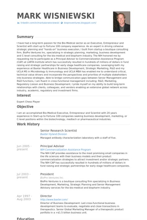 chercheur scientifique principal exemple de cv base de donn 233 es des cv de visualcv