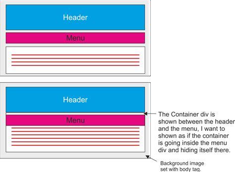 javascript hide div javascript hide container div below menu bar div using