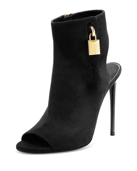 tom ford boots tom ford open toe suede ankle lock boots in black lyst