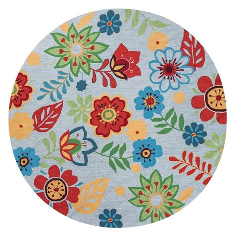 Whimsical Area Rugs Kas Rugs Whimsical Floral Light Blue 7 Ft 6 In X 7 Ft 6 In Area Rug Soe200576x76ro