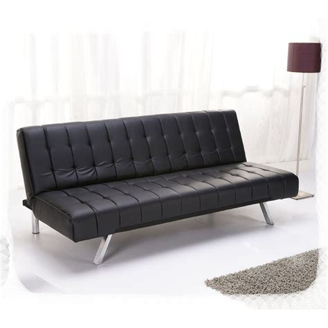Modern Leather Futon by Aqua 3 Seater Sofa Bed Faux Leather W Metal Legs Modern