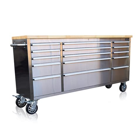 tool chest bench stainless steel tool chest box bench 72 quot wooden worktop