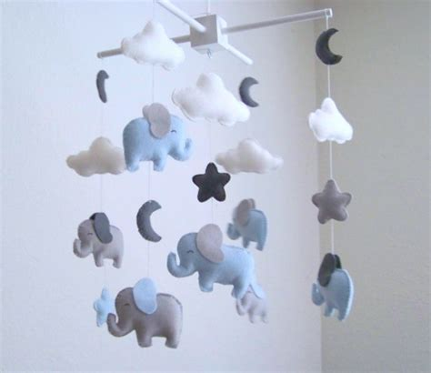Gray Crib Mobile by Elephant Baby Mobile Blue And Gray Baby By Dlgnurseryboutique