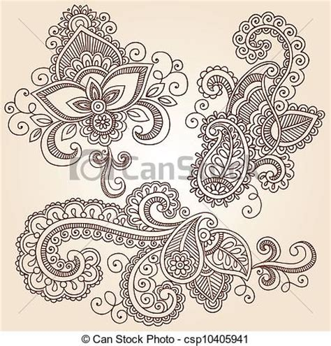 eps vector of henna mehndi tattoo doodles vector hand