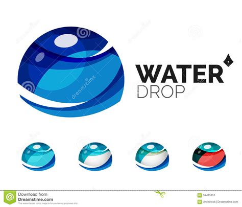 Company Creates Line Of Eco Set Of Abstract Eco Water Icons Business Logotype Stock