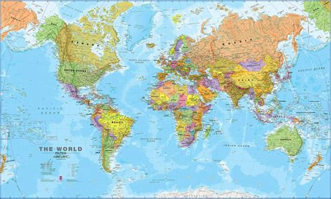 world s world wall map political