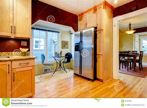 dinning area burgundy kitchen room with dining area stock image image