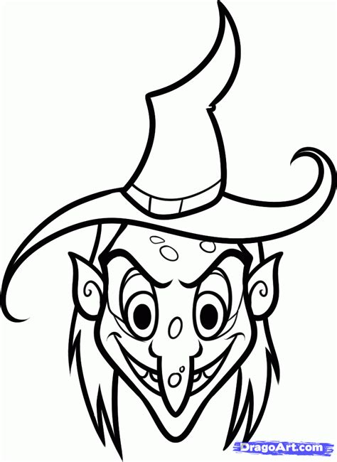 witch head coloring page how to draw a witch face step by step witches monsters