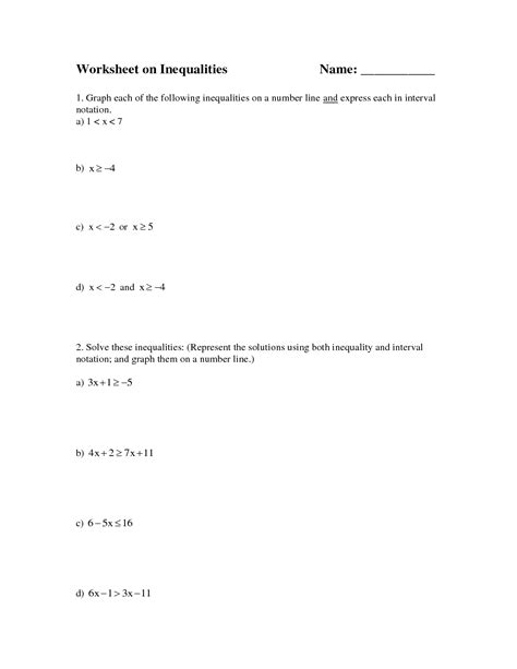 Graphing Inequalities On A Number Line Worksheet by 8 Best Images Of Graphing Inequalities On A Number Line