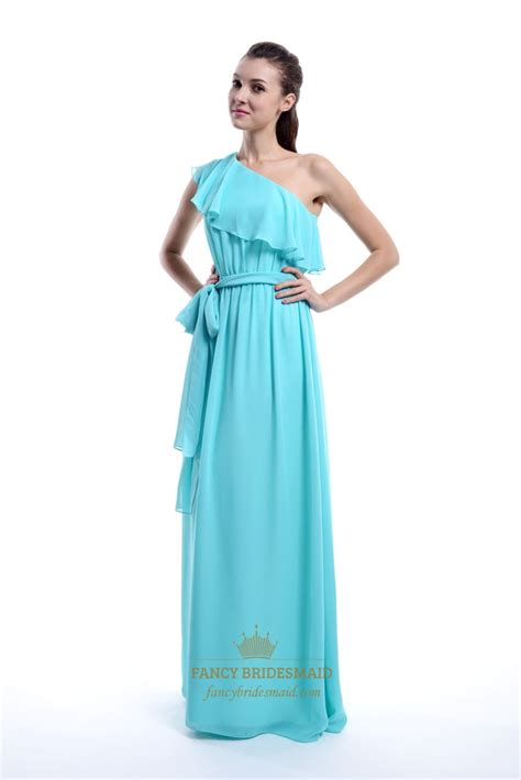 One Shoulder Ruffle Chiffon Dress aqua one shoulder chiffon ruffle bridesmaid dress with