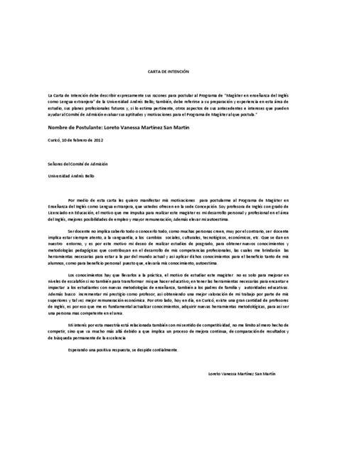 carta de intencion trabajo carta de intenci 243 n