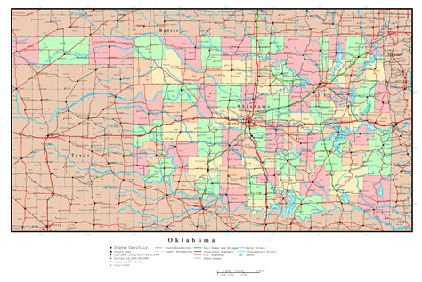 map of the united states oklahoma large detailed administrative map of oklahoma state with