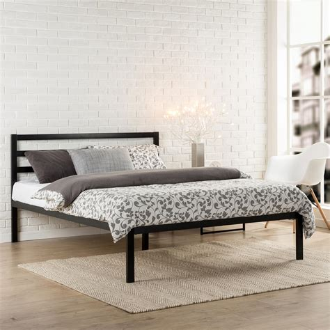 Modern Black Bed Frame Zinus Modern Studio Black Platform Bed Hd Asmph 15t The Home Depot