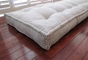 custom cushions blue ticking stripe mattress