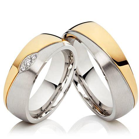Verlobungsringe Gold Silber by Kaiser Eheringe Edelstahl Gold Silber 3 Zirkonia