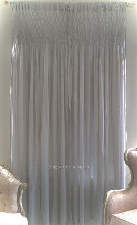 smocked drapery panels 2 shabby french provincial curtains drapes grey vintage