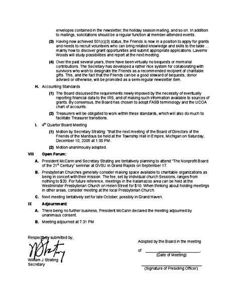 board of directors meeting minutes template exle board of director meeting minutes free