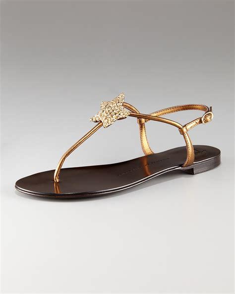 Lr 04 Sandal Flat giuseppe zanotti flat t sandal in metallic lyst