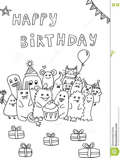doodle happy birthday simple happy birthday doodle monsters stock illustration