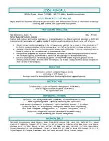 business analyst resume sle resume format
