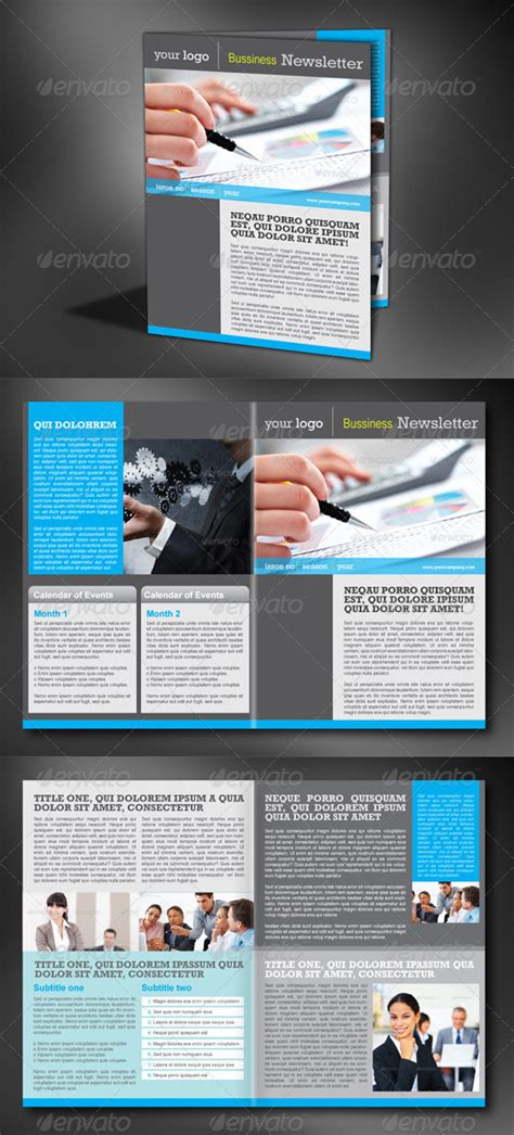 4 Pages Modern Newsletter By Milana Graphicriver Contemporary Newsletter Template