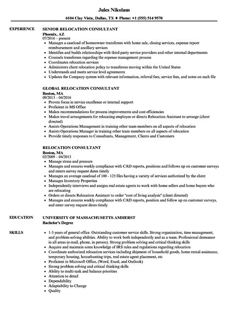 Relocation Resume by Relocation Consultant Resume Sles Velvet