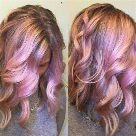 iridescent hair color iridescent pink and gold hair color design by