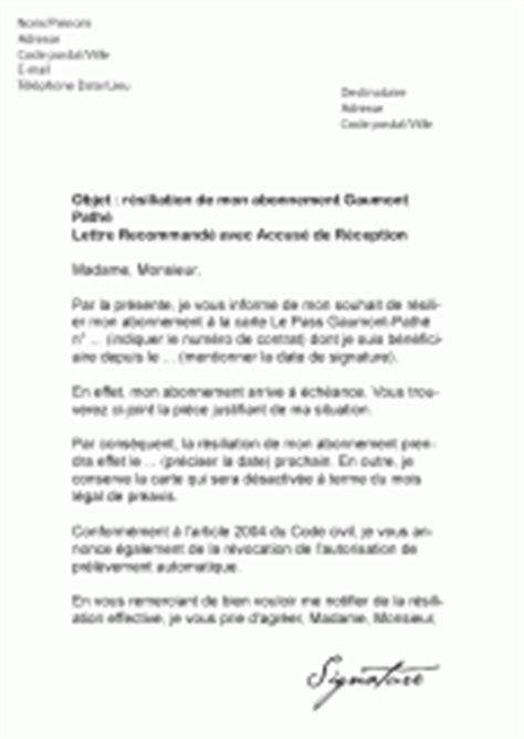 Lettre De Résiliation De Virement Permanent Mod 232 Les De Lettres De R 233 Siliation Pour R 233 Silier Un Contrat