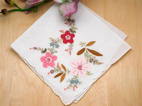 embroidery design for handkerchief set of 3 pink floral applique embroidered handkerchiefs