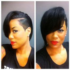 shaved side part quick weave sew in weave for black women shaved side full sew in red