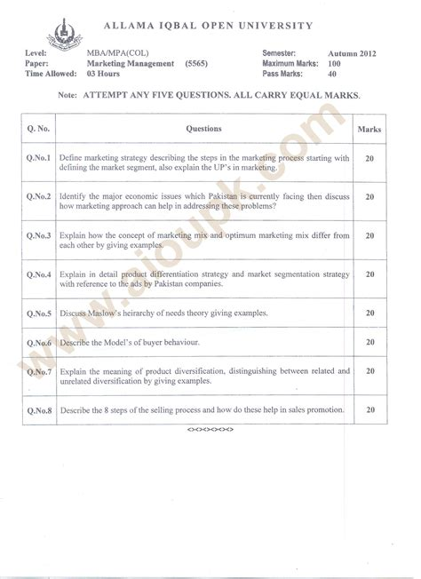 Aiou Col Mba Admission Test by Marketing Management Code 5565 Mba Mpa Col Aiou