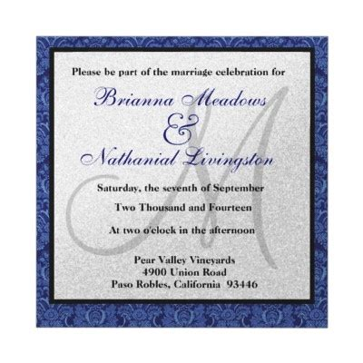 navy white and silver wedding invitations navy blue and white damask square wedding template custom