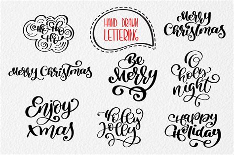 merry christmas hand drawn lettering objects graphic  happy letters creative fabrica