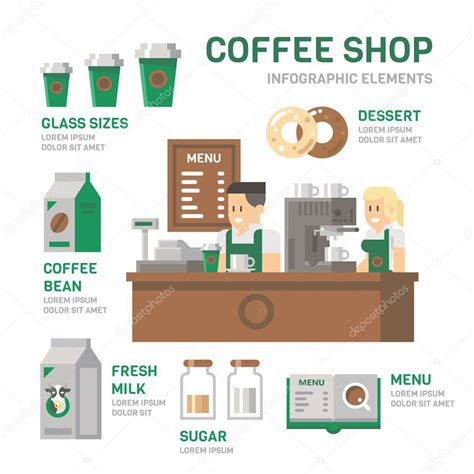 coffee shop flat design coffee shop infographic flat design stock vector