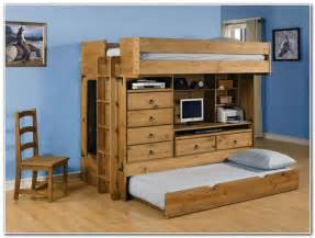 Full Bed Loft With Desk All In One Loft Bed With Trundle Interior Design Ideas
