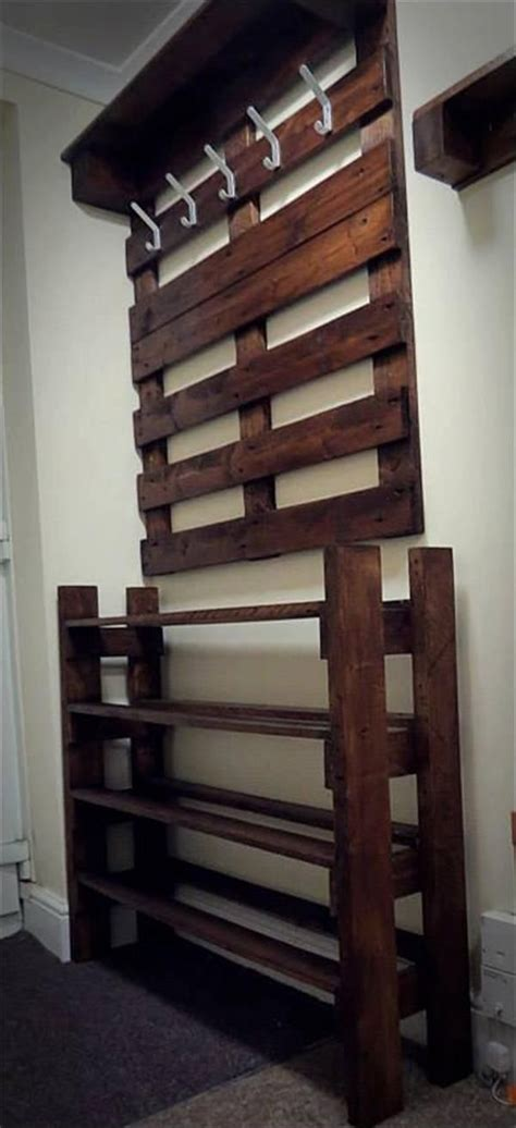 coat hook and shoe storage upcycled pallet hallway coat rack and shoes rack home