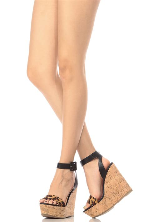 Natural Leopard Contrast Ankle Strap Cork Wedges @ Cicihot