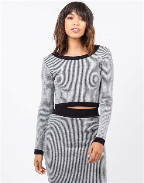 knit crop top marled knit crop top gray top womens tops 2020ave