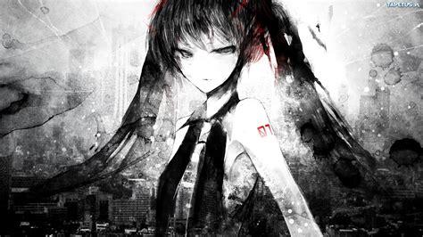 imagenes sad anime blanco y negro miku en blanco y negro fondos de anime