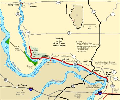 national scenic byway meeting of the great rivers scenic route map america s