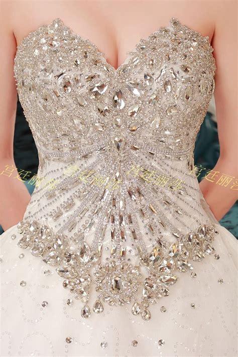 Romantic Diamonds Studded Sweetheart Neckline 1 m Train Wedding Dress   Diamond wedding dress