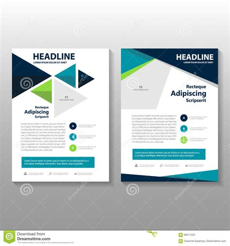 layout editor polygon abstract triangle green blue polygon leaflet brochure