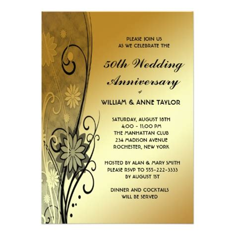 gold flower swirls 50th anniversary invitations 5 quot x 7