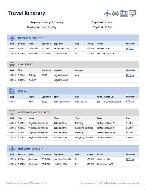 itinerary templates create a one page summary of your travel plans using this