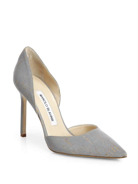 Manolo Blahnik Poppy Heels by Lyst Manolo Blahnik Tayler Metallic Cork D Orsay Pumps