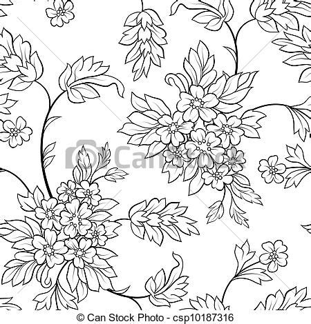 the black outline flower seamless vector clip art search